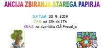 AKCIJA ZBIRANJA STAREGA PAPIRJA – 30. 9. 2019